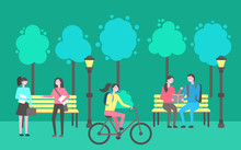 Park Activities Vector, People Sitting And Chatting Outdoors. Trees And Lanterns, Wooden Benches, Lady Riding Bicycle, Woman Holding Paper Notebook