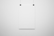 Blank Poster Mock-up Isolated Ob Soft Gray Background. 3D Rendering