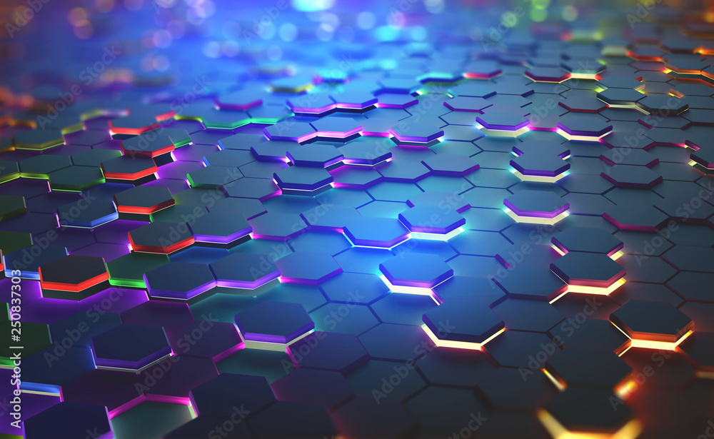 Fototapeta A field of hexagons in a futuristic 3D illustration. Bright color and neon light of the heated edges of the hexagons. Shallow depth of field with bokeh effect