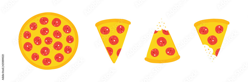 Fototapeta Set, collection of vector pepperoni pizza slices and whole pizza isolated on white background.