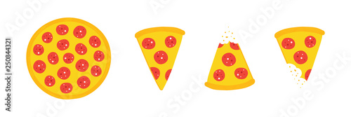 Set, collection of vector pepperoni pizza slices and whole pizza isolated on white background Canvas Print