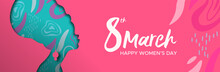 Happy Womens Day Pink Banner Of African Woman Head