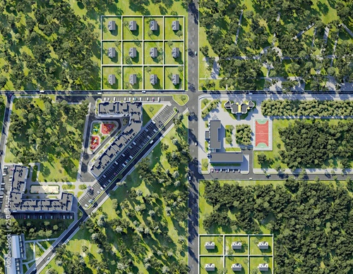 Valokuva  Aerial view of summer green town, 3d render
