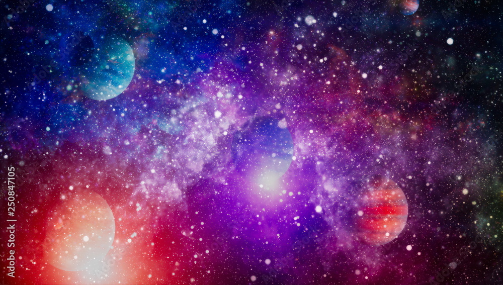 Fototapety, obrazy: Nebula night starry sky in rainbow colors. Multicolor outer space. Star field and nebula in deep space many light years far from planet Earth. Elements of this image furnished by NASA.