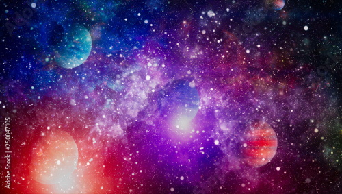 Foto auf AluDibond Violett Nebula night starry sky in rainbow colors. Multicolor outer space. Star field and nebula in deep space many light years far from planet Earth. Elements of this image furnished by NASA.