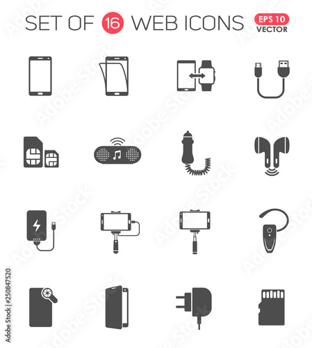 Obraz smartphone accessories icon set. smartphone accessories vector icons for web, mobile and user interface design - fototapety do salonu