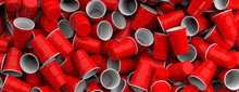Plastic Red Color Disposable Cups Pile Background, Texture, Banner. 3d Illustration