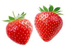 Zwei Erdbeeren Vor Weißem Hintergrund