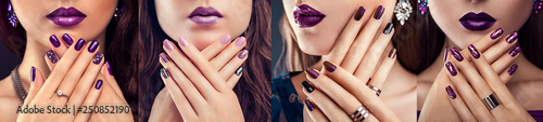 Aluminium Prints Manicure Four types of purple nail design. Beautiful woman with perfect make-up, manicure and jewellery. Fashion
