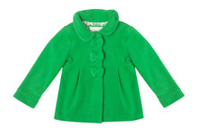 Green Baby Coat Isolated On A White Background.