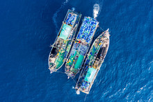 Industrial Fishing - Aerial View Of Large Fishing Trawlers Sorting And Transferring A Large Catch Between Vessels