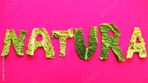 Tuinposter Roze Natural escrito con hojas verdes.