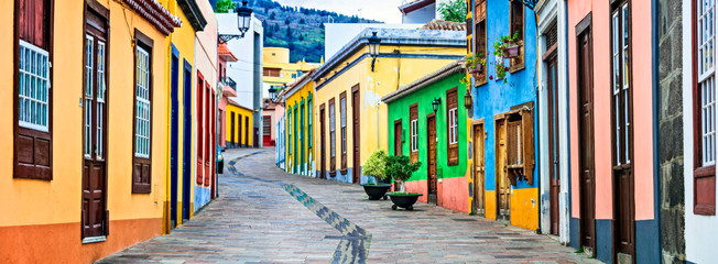 Colorful old streets of Los llanos de Aridane. traditional architecture of  Canary islands. La Palma