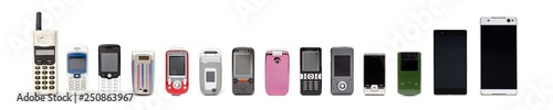 Fotomural  Old mobile phones from past to present on white background.