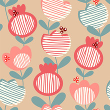 Abstract Flowers On Kraft Paper. Seamless Vector Pattern.