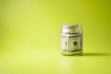 Bank Of Dollars On Green Backg...