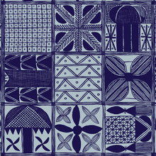 Purple And Blue African Mudcloth Paint Brush Seamless Pattern
