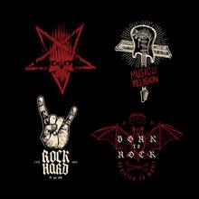 Rock Music T-shirt Design Set: Pentagram, Music Religion Guitar And Synthesizer Cross,sign Of Horns Hand Gesture, Rock Vampire Bat. Hard Rock T-shirt Print