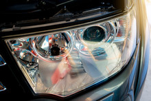 Close Up Car Lamps That Are Beautiful And Open The Hood Of The Car Up