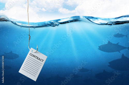 Fotomural Contract as bait on a fish hook underwater with fish