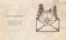 Outdoors. Compass In Open Envelope. Renaissance Background. Medieval Engaving Manuscript. Vintage Paper With Drawings, Vector