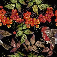 Bullfinch On A Branch Of Mountain Ash Berry Pattern. Fashionable Template For Design Of Clothes