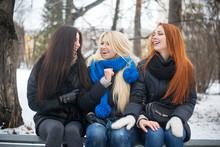 Three Female Friends Laughing ...