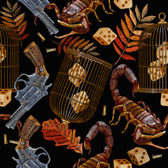 Embroidery autumn leaves, scorpion, vintage guns and golden cage seamless pattern. Halloween template for clothes, t-shirt design. Classical gothic art