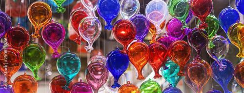 Obraz na plátně beautiful colorful murano glass balls handmade in Venice, Italy