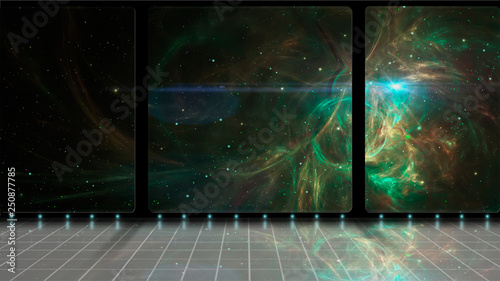 Foto op Canvas Zwart Space scene. 3D Room with green fractal nebula and stars. Elements furnished by NASA. 3D rendering