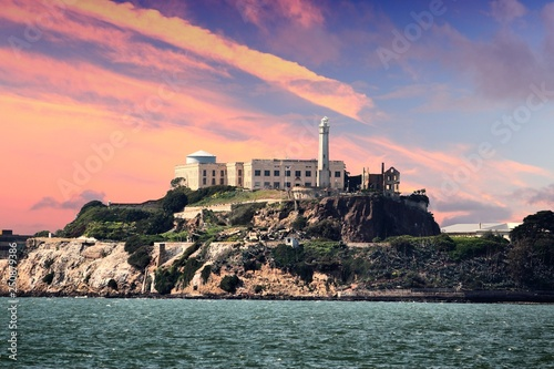 Canvas Print Alcatraz sunset