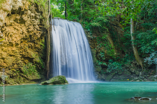 Wall Murals Waterfalls Beautiful scenery of Erawan Waterfall in Kanchanaburi,Thailand.