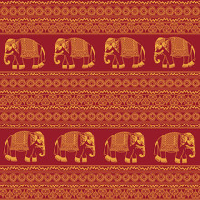 Indian Traditional Pattern With Elephants On Red Background. Seamless Pattern