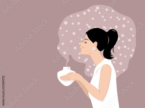Fototapeta Woman using an aromatherapy diffuser, surrounded by an essential oil fragrance, EPS 8 vector illustration obraz