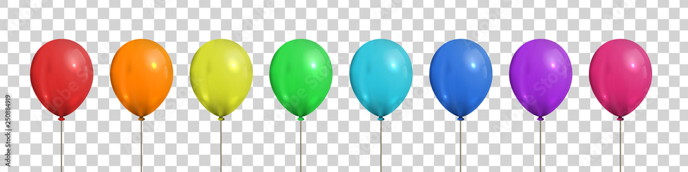 Fototapeta Vector set of realistic isolated colorful balloons for template and invitation decoration on the transparent background. Concept of birthday and anniversary celebration.