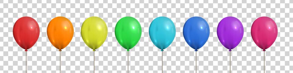 Vektorski set realističnih izoliranih šarenih balona za ukras predloška i pozivnica na prozirnoj pozadini. Koncept proslave rođendana i godišnjice.
