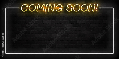 Photo Vector realistic isolated neon sign of Coming Soon frame logo for template decoration and layout covering on the wall background