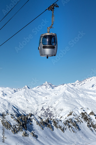 Gondola of a cable car in the popular ski resort Les Arcs in French Alps. Wall mural