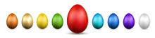 Easter Egg 3D Icons. Gold, Col...