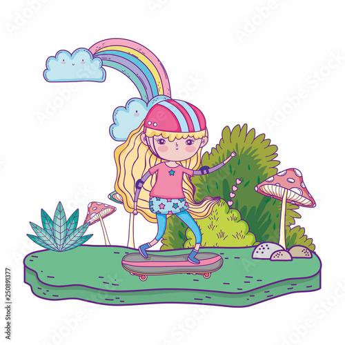 Spoed Foto op Canvas Magische wereld cute little girl mounted in skateboard in landscape