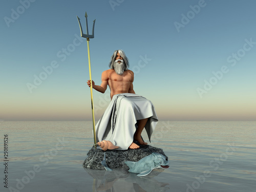 Valokuva  3d illustration of the god Neptune