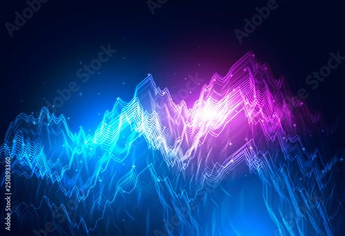Fototapeta Blue and purple graphs over blue background obraz na płótnie