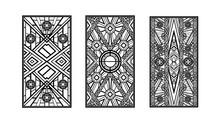 Abstract Geometric Background. Art Deco Style, Trendy Vintage Design Element. Black Grille On A White Background. Black And White Art Deco Panels. Gatsby Style. Set Retro Pattern