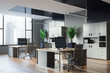 Gray and black open space office corner