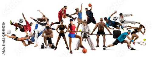 Huge multi sports collage taekwondo, tennis, soccer, basketball, etc Fototapet