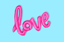 Love  Balloon Font Isolated On Blue