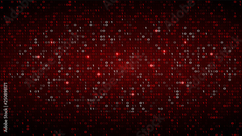 Fotografía  Tech Binary Code Dark Red Background. Cyber Attack