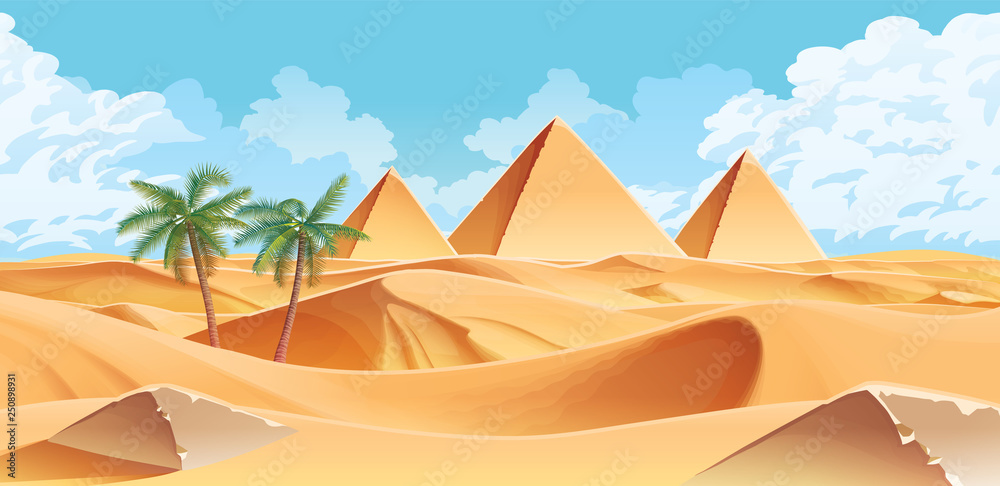 Fototapeta Horizontal background with desert and palms. Pyramids on the horizon.
