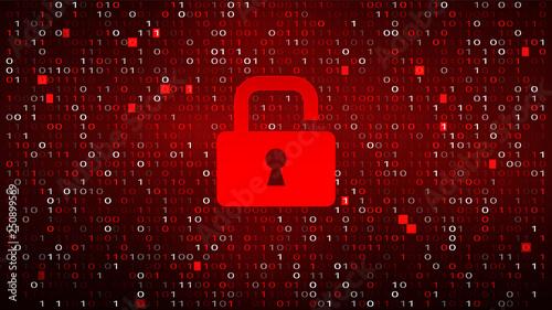 Fotografía  Tech Binary Code Red Background with Lock