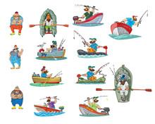 A Set Of Fishermen, Sailors, Boats, And Stuff Like That. Cartoon. Caricature.